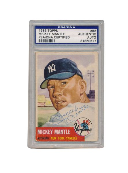 Lot Detail 1953 Topps Mickey Mantle Autographed Baseball Card