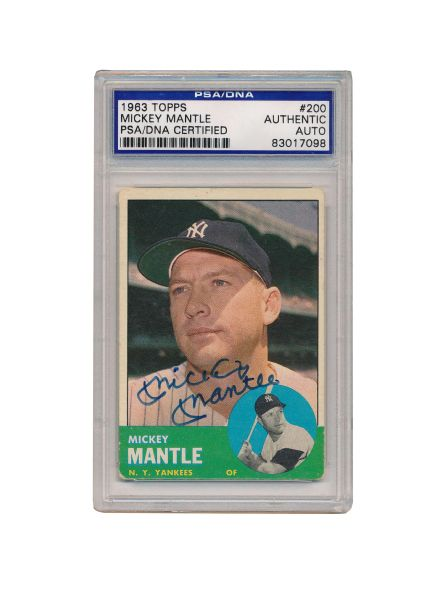Lot Detail 1963 Topps Mickey Mantle Autographed Baseball Card