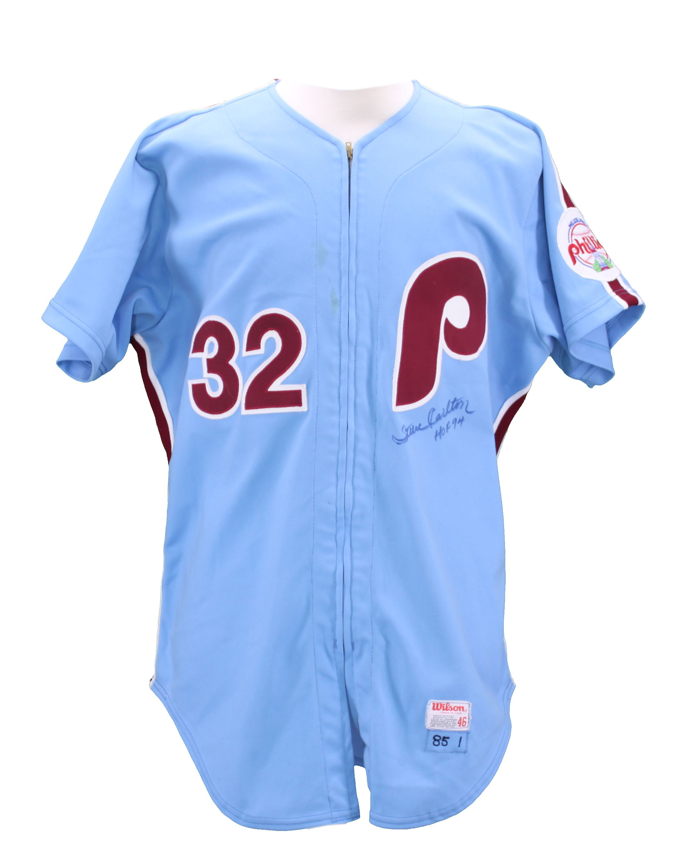 1985 Steve Carlton Philadelphia Phillies Autographed Game Used Jersey ... 704d4e96b2b