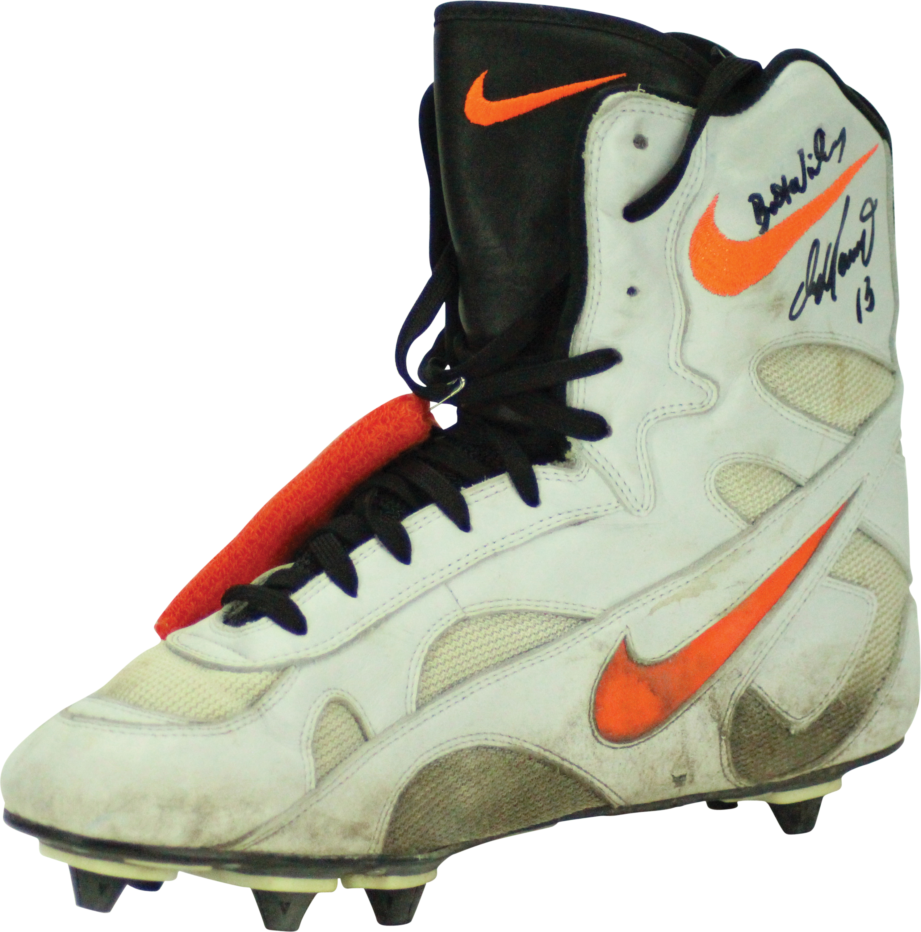 ada9f8c245 ... Dan Marino Miami Dolphins Game Used Worn and Hand Signed Custom Made  Nike Football Cleats and ...
