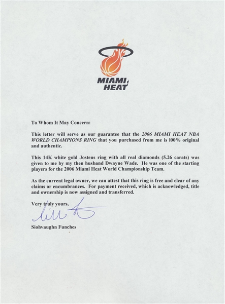 2006 Miami Heat NBA World Champions Ring Presented to Dwyane Wade Family Member – LOA from Wade's Ex-Wife