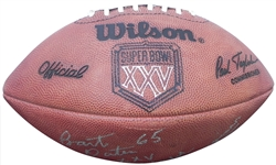 BART OATES PERSONAL SUPER BOWL XXV AUTOGRAPHED AND INSCRIBED GAME USED FOOTBALL