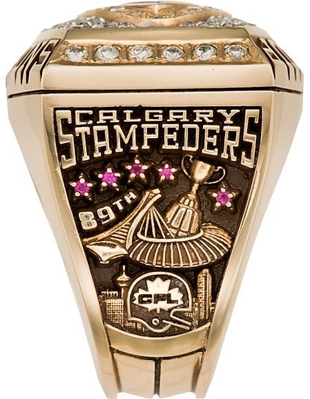 2001 PLAYER ANTHONY PRIOR CALGARY STAMPEDERS GREY CUP CHAMPIONSHIP RING WITH BOX AND PAPERS