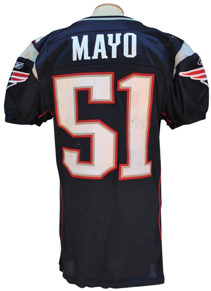 Lot Detail - 2008 JEROD MAYO NEW ENGLAND PATRIOTS GAME USED JERSEY
