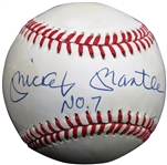 MICKEY MANTLE AUTOGRAPHED SINGLE SIGNED BASEBALL WITH NO.7 UPPER DECK