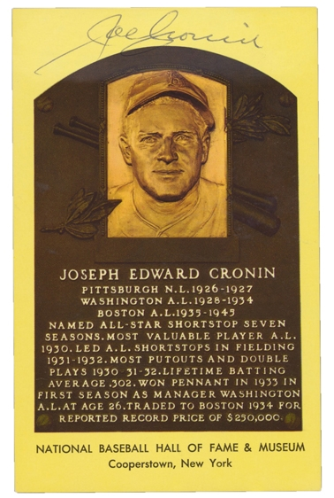 JOE CRONIN SIGNED HALL OF FAME PLAQUE