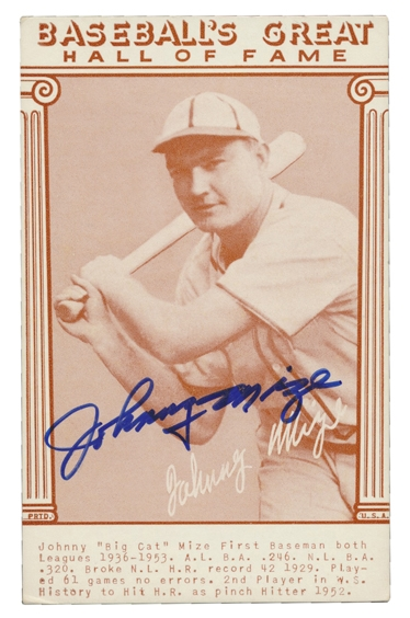 JOHNNY MIZE SIGNED BASEBALL GREATS HALL OF FAME CARD