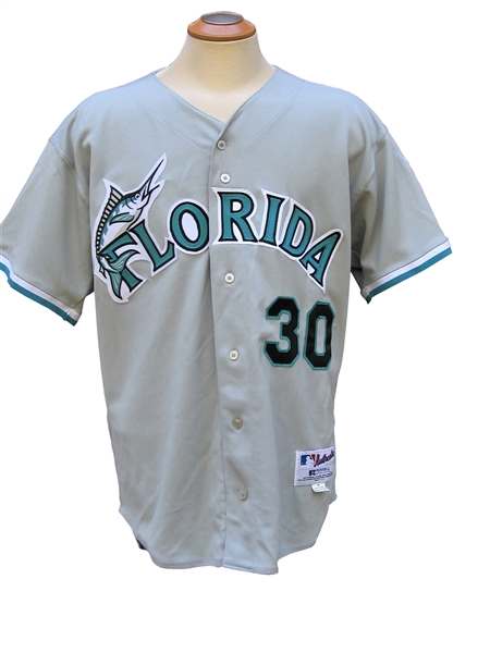 2002 TIM RAINES SIGNED FLORIDA MARLINS GAME USED JERSEY