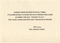MICHAEL JORDAN - JAMES JORDAN FAMILY THANK YOU CONDOLENCE CARD