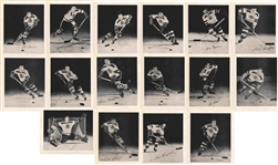 1955-1956 BOSTON BRUINS TEAM ISSUED SET OF 16 PHOTOS PICTURE PACK WITH 3 TERRY SAWCHUK