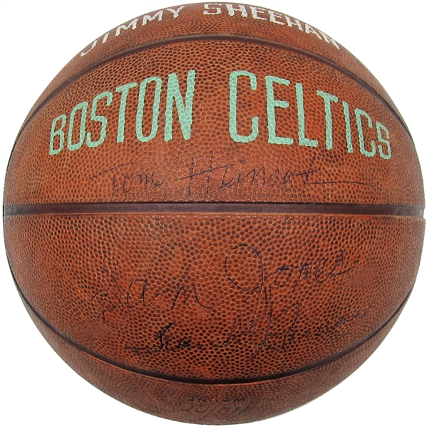1957-1958 BOSTON CELTICS TEAM SIGNED BASKETBALL WITH RUSSELL, COUSEY, AND BONUS GEORGE MIKAN