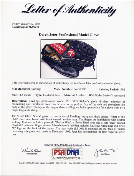 1996 DEREK JETER SIGNED ROOKIE AND WORLD SERIES NEW YORK YANKEE GAME USED GLOVE TURN 2 RECEIPT