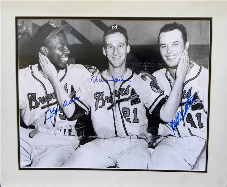 HANK AARON, WARREN SPAHN AND EDDIE MATTHEWS SIGNED 16X20