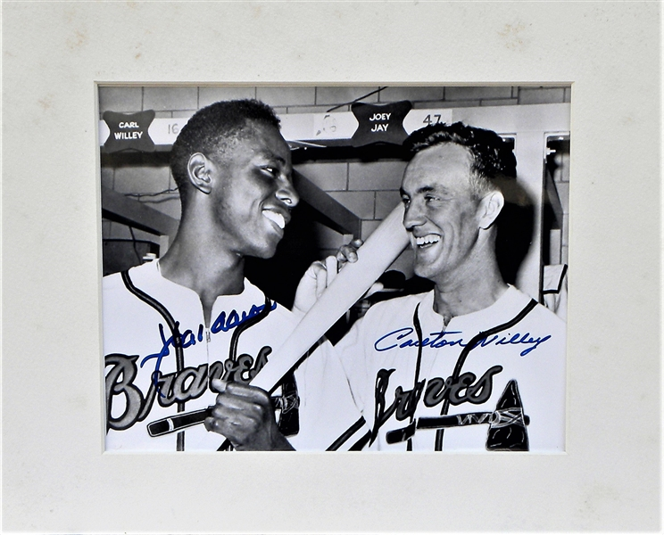 OVERSIZED HANK AARON AND CARLTON WILLIE SIGNED PHOTO