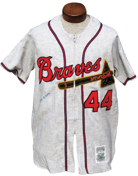 1957 HANK AARON SIGNED MITCHELL & NESS JERSEY