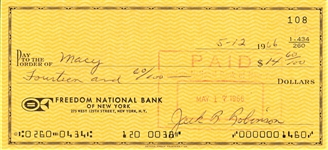 1966 JACKIE ROBINSON SIGNED CHECK