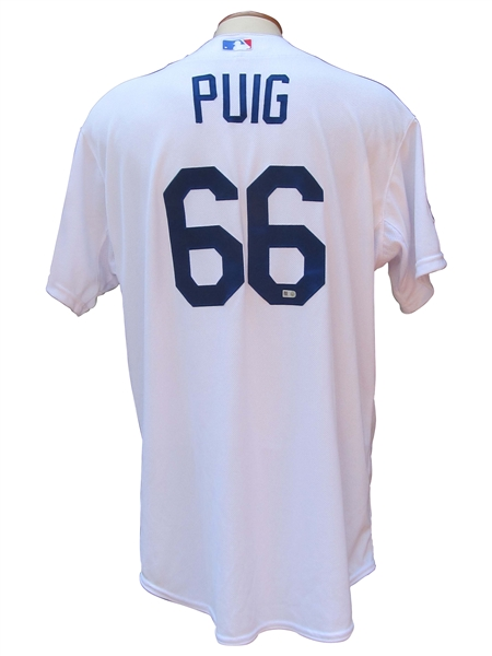 2014 YASIEL PUIG LOS ANGELES DODGERS GAME USED NLDS JERSEY MLB LOA