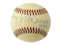 JOE E BROWN SINGLE SIGNED BASEBALL – COMEDIAN & YANKEES BROADCASTER