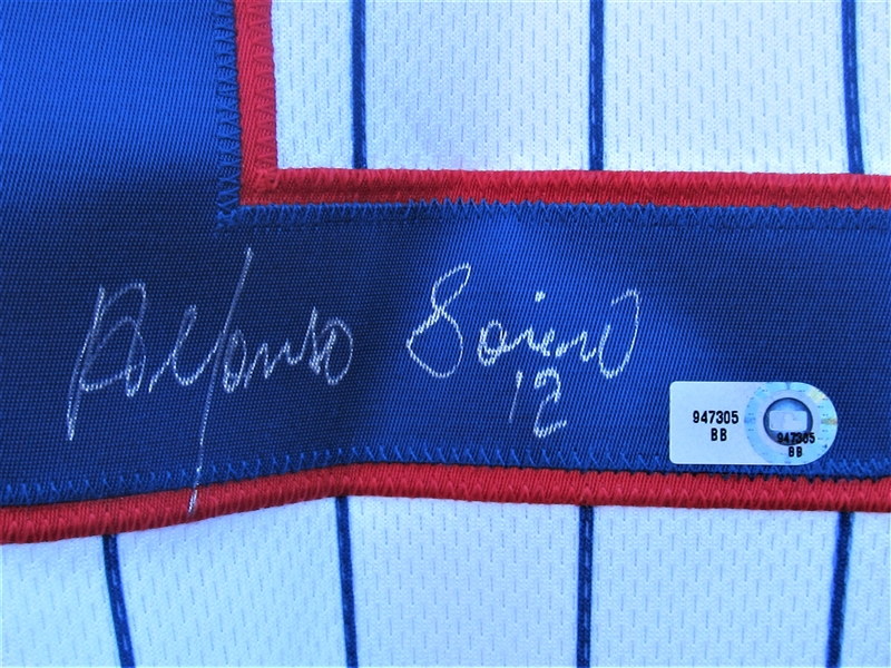 2008 ALFONSO SORIANO SIGNED CHICAGO CUBS GAME USED JERSEY AND LOCKER NAMEPLATE