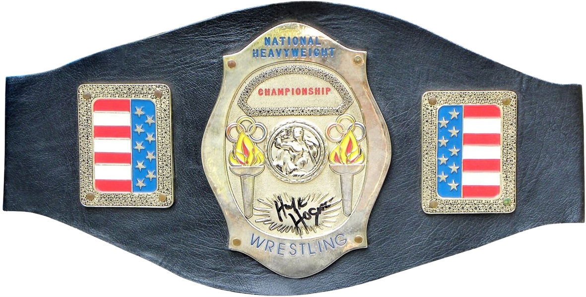 CIRCA 1980 HULK HOGAN SIGNED RING AWARDED CHAMPIONSHIP BELT