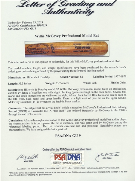 1977 WILLIE McCOVEY GAME USED BAT PSA GU 9