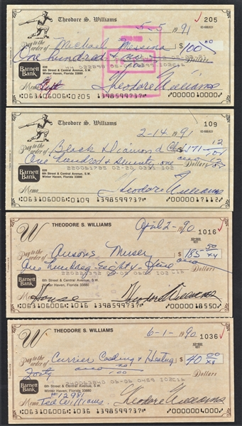 10 TED WILLIAMS SIGNED PERSONAL CHECKS