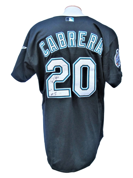 2003 MIGUEL CABRERA WORLD SERIES GAME USED JERSEY SIGNED AND INSCRIBED