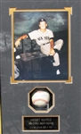 SHADOW BOX WITH MICKEY MANTLE PHOTO AND SIGNED BASEBALL
