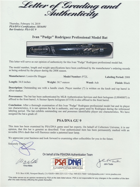 2008 IVAN PUDGE RODRIGUEZ GAME USED BAT MLB AND STEINER