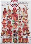 1980 PHILLIES TEAM SIGNED DICK PEREZ PRINT BOBBY WINE COLLECTION