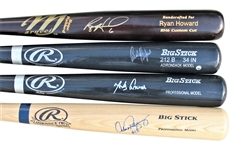 LOT OF 4 SIGNED BATS ALEX RODRIGUEZ AND RYAN HOWARD