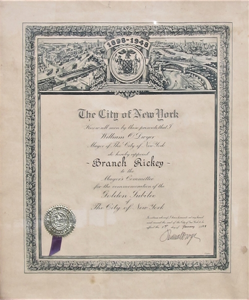 1948 BRANCH RICKEY APPOINTMENT FROM THE CITY OF NEW YORK