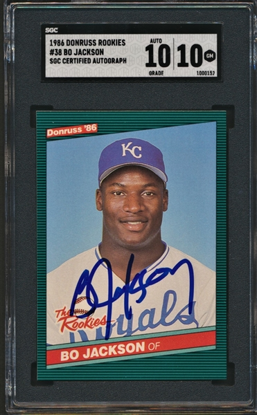 1986 BO JACKSON SIGNED DONRUSS ROOKIES SGC 10 CARD AND 10 AUTOGRAPH