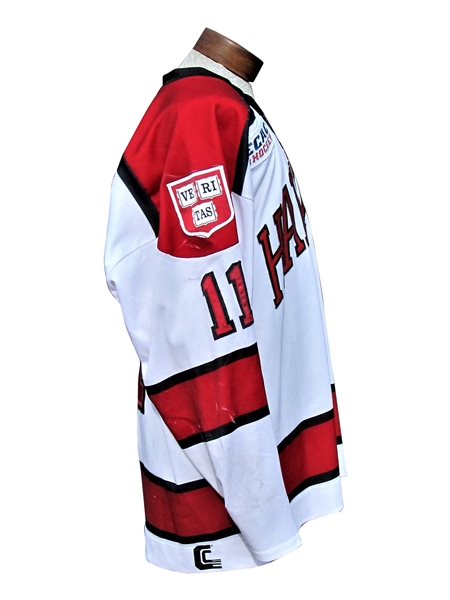 KYLE CRISCUOLO GAME USED AND WORN HARVARD CRIMSON CAPTAINS HOCKEY JERSEY