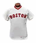 CARLTON FISK GAME USED AND WORN SIGNED 1972 ROOKIE BOSTON RED SOX ROAD JERSEY.