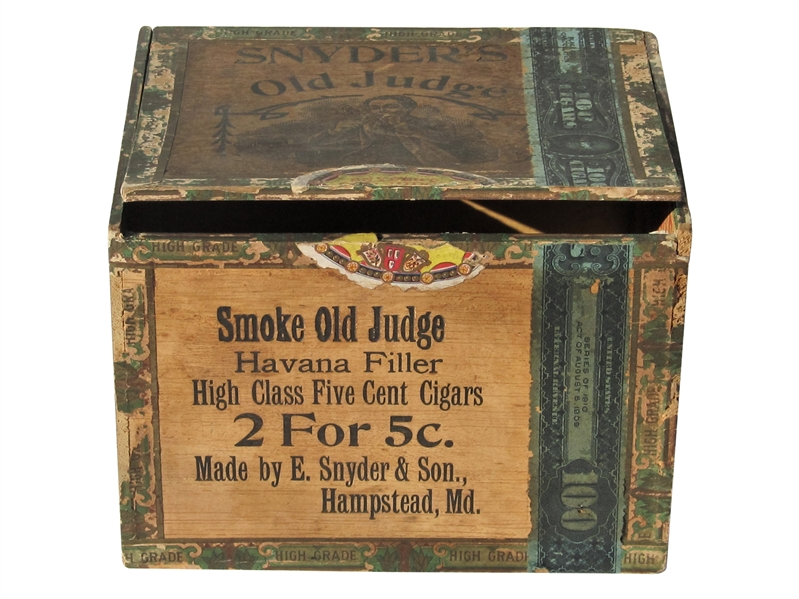 CIRCA 1900 OLD JUDGE TOBACCO BOX