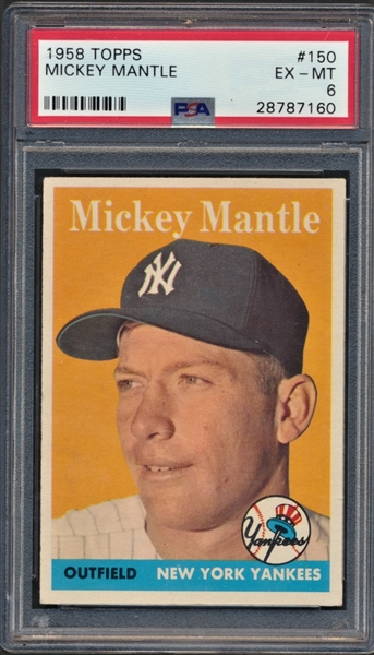 1958 TOPPS MICKEY MANTLE PSA 6
