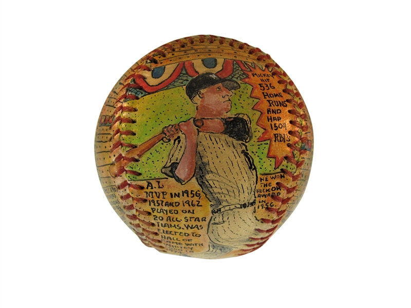 AMAZING HAND PAINTED MICKEY MANTLE AND WHITEY FORD BASEBALL