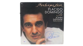PLACIDO DOMINGO SIGNED PERHAPS LOVE ALBUM WITH JOHN DENVER