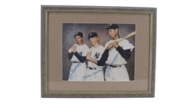RARE JOE DIMAGGIO, MICKEY MANTLE AND JOE DIMAGGIO SIGNED PHOTO