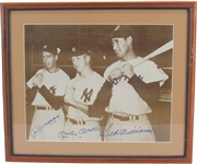 JOE DiMAGGIO, MICKEY MANTLE, AND TED WILLIAMS SIGNED 11X14