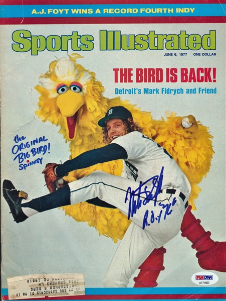 "MARK ""THE BIRD"" FIDRYCH AND THE ORIGINAL BIG BIRD SIGNED SPORTS ILLUSTRATED"