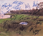 20 SIGNED FOOTBALL HALL OF FAMERS SIGNED GOLF COURSE PHOTO