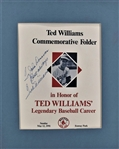 1991 TED WILLIAMS SIGNED COMMEMORATIVE FOLDER