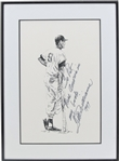 TED WILLIAMS SIGNED PRINT WITH AMAZING INSCRIPTION
