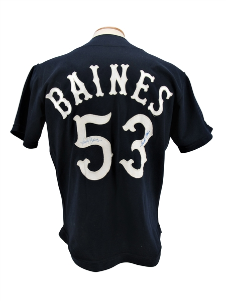 1977 HAROLD BAINES CHICAGO WHITE SOX SIGNED (2) POSSIBLY FIRST GAME USED JERSEY