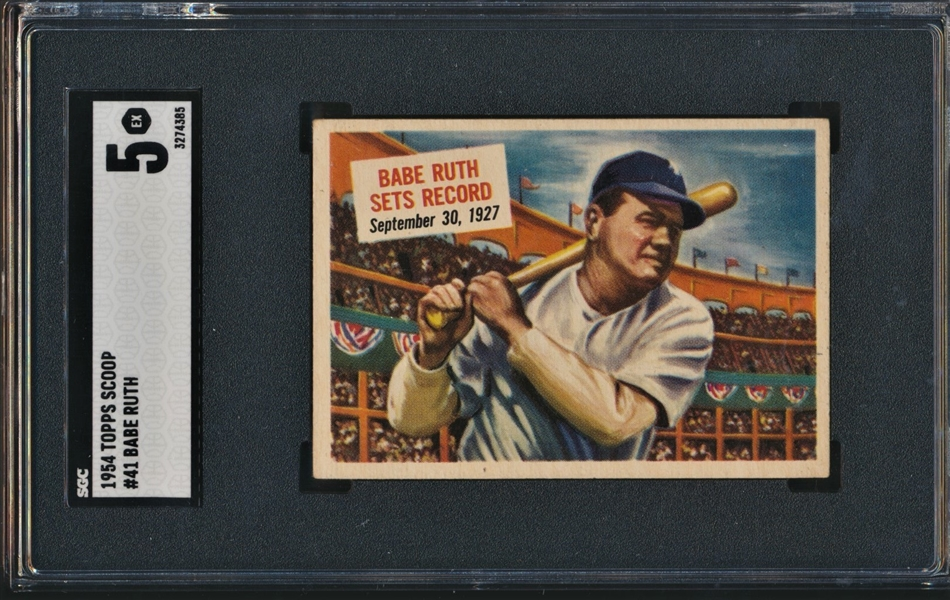 1954 TOPPS SCOOP #41 BABE RUTH SGC 5