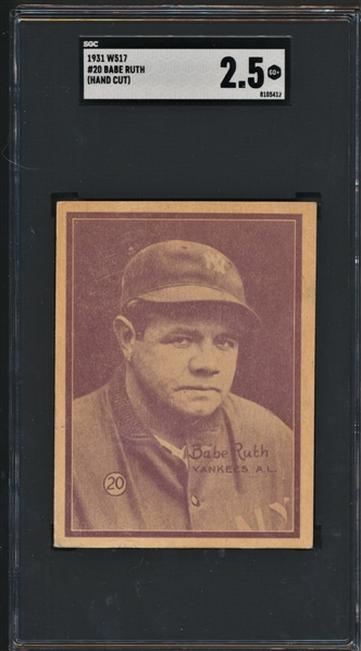 1929 KASHIN PUBLICATIONS R316 BABE RUTH SGC 2