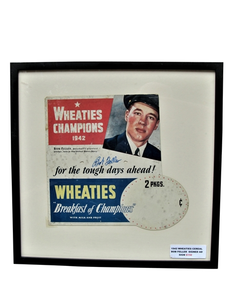 RARE 1942 BOB FELLER WHEATIES CHAMPIONS CEREAL DISPLAY