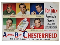 1949 CHESTERFIELD AD FEATURING JOE DIMAGGIO, BEN HOGAN, AND LOU BOUDREAU
